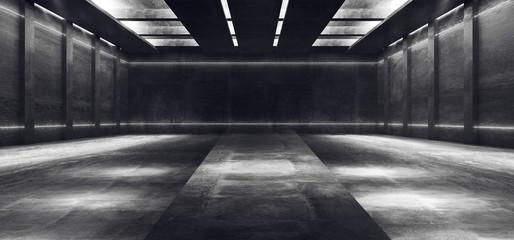 Sci Fi Futuristic White Catwalk Spaceship Concrete Grunge Underground Garage Hallway Tunnel Parking Car Showcase Empty Dark 3D Rendering Fotobehang