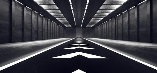 Sci Fi Futuristic Alien Spaceship White Glowing Arrows Dark Cold Concrete Grunge Hall Garage Underground Stage Studio Background 3D Rendering Fotobehang