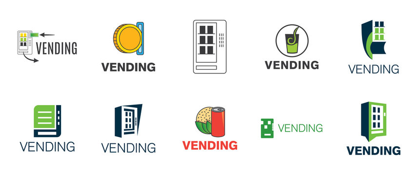 Vector logo of a vending machine with food