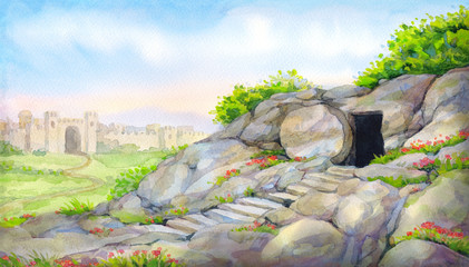 Open empty tomb. Watercolor painting Fototapete