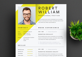 Resume Layout with Yellow Accent and Shadow Effect
