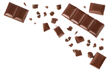 piece of chocolate isolated on white background with clipping path. . Top view with copy space for your text. Flat lay.