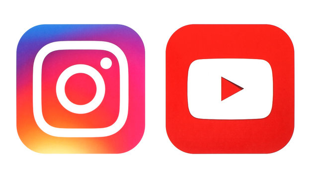 Instagram new logo and Youtube icon printed on white paper