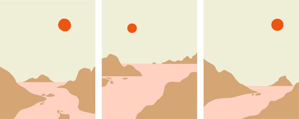 Minimalist landscape design, flat scenery postcard,nordic scandinavian design,poster set mountains lake sunset earthy tones  color palette