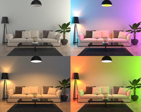 Four different color lights set up - 3D render