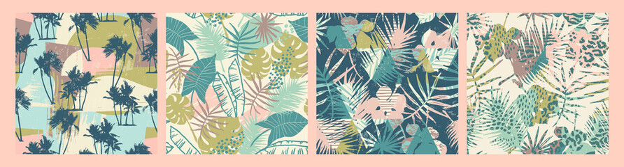 Seamless exotic patterns with tropical plants and artistic background. - fototapety na wymiar