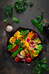 Grilled vegetables in pan, top view
