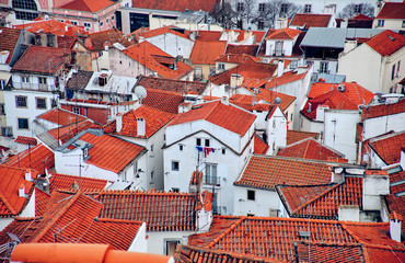 Roofs of old buildings in Lisbon, Portugal.