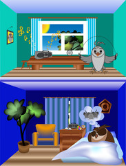 Neighbors owl and lark, different times of sleep and wakefulness, owl sleeps, lark does exercises, vector clip art