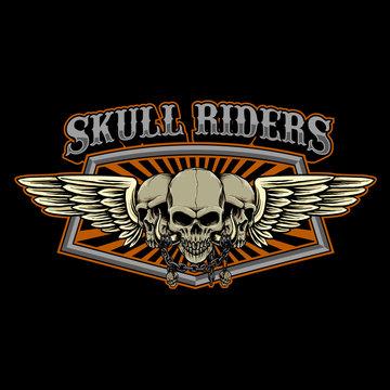 vector of skulls wings badge emblem