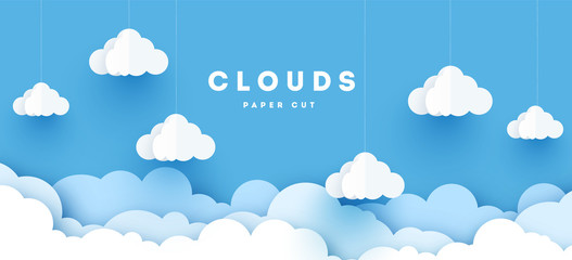 Vector paper clouds.White Cloud on blue sky paper cut design. Vector paper art illustration. Paper cut style. Place for text. Wall mural