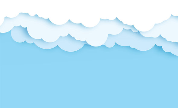 Border of white paper cut clouds on blue background for design. Paper cut, paper craft art style,vector illustration