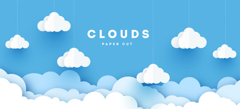 Vector paper clouds.White Cloud on blue sky paper cut design. Vector paper art illustration. Paper cut style. Place for text.