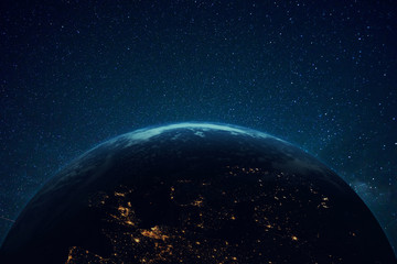 Papiers peints Europe du Nord Beautiful blue planet earth with lights in space. Flying over the planet