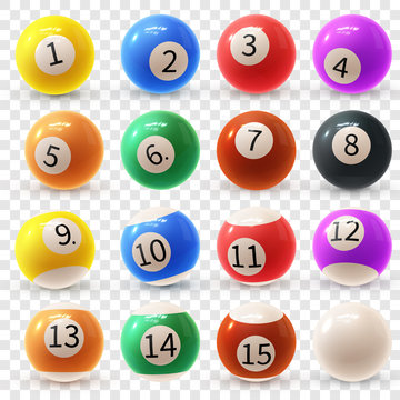 Realistic colorful vector set of glossy 3D billiard balls. Balls for pool or snooker.