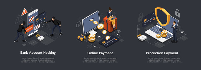 Fototapeta Isometric Set of Bank Account Hacking, Online Payment, Protection Payment. Security Payments and Transactions Concept. Vector Illustration