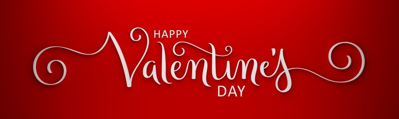 3D render of HAPPY VALENTINE'S DAY brush calligraphy on red background