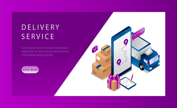Isometric Logistics and Delivery Service Landing Page Concept. Delivery home and office. Delivery Truck, Smartphone With App, and Cargo. Vector Illustration