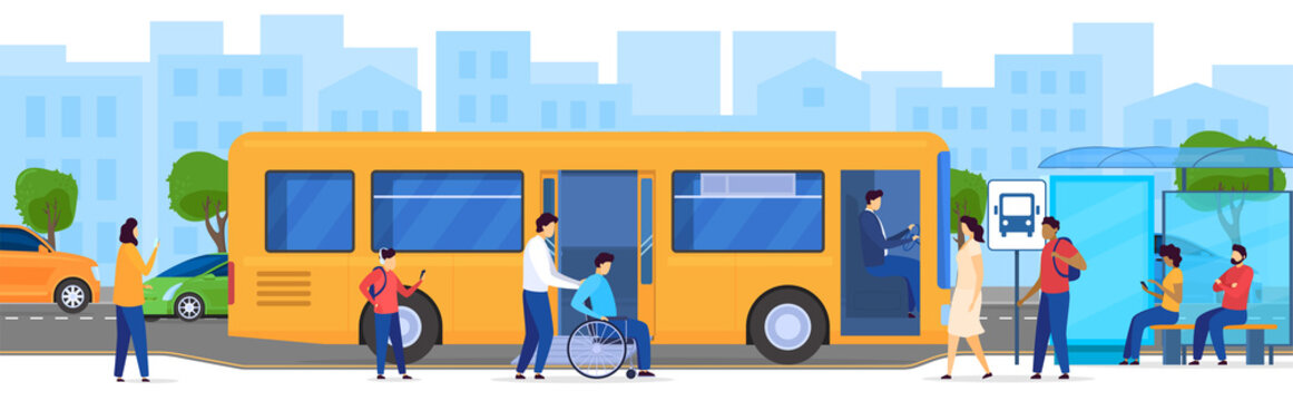 People at bus stop, disabled passenger in wheelchair, vector illustration. Men and women waiting for bus, modern public transportation in big city. Passengers cartoon characters, transport access