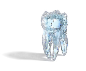 Molar tooth made form diamond material. 3D illustration concept