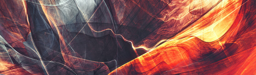 Abstract future background. Red and grey color banner. Fractal artwork for creative graphic design Wall mural