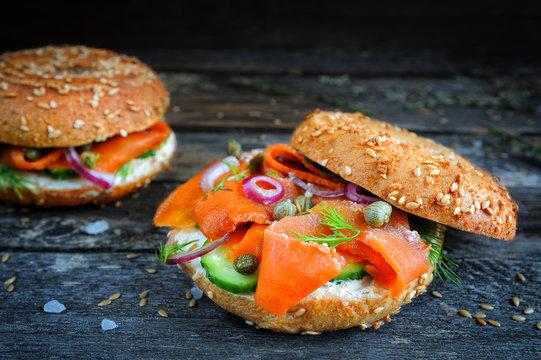 Vegan smoked salmon (carrot lox) bagel with cream cheese