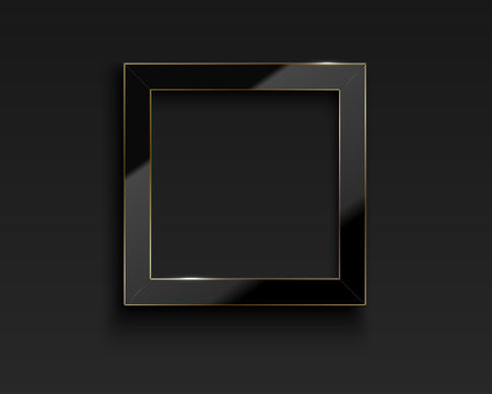 Vector square glossy luxury black and golden line frame. Border for photo, picture, congratulations, quote. Realistic glass frame with reflection gold edge on dark background