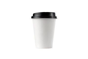 White disposable paper coffee cup with a black plastic lid isolated on white background