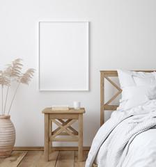 Wall Mural - Mockup poster frame in white cozy bedroom interior, Scandinavian style, 3d render
