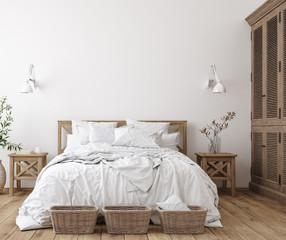 Wall Mural - Scandinavian farmhouse bedroom interior, wall mockup, 3d render