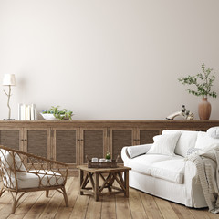 Wall Mural - Scandinavian farmhouse living room interior, wall mockup, 3d render