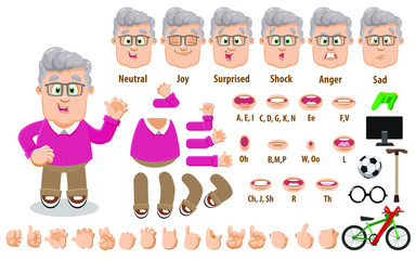 Cartoon old man, grandfather constructor for animation. Parts of body: legs, arms, face emotions, hands gestures, lips sync. Full length, front, three quater view. Set of ready to use poses, objects.