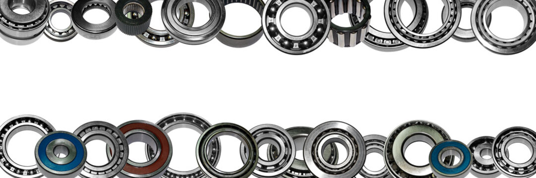 Car bearings collage on isolated background. Bearings close-up advertising store. Banner on the website.
