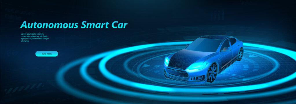 Autonomous smart car scans the road. Smart car concept. Automatic braking system. Self driving vehicle. Driver assistance systems, parking sensors 360 degrees HUD. Vector Illustration