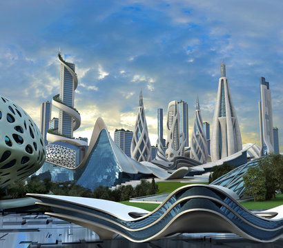 Futuristic city with organic sustainable architecture
