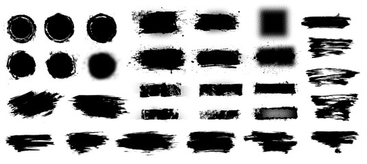 Fotobehang - Set of thick brush strokes. Dirty artistic design elements, boxes, frames for text. Irregular drawing strokes. Brush stroke background. Set of black paint, circles, ink brush strokes. Vector set