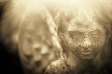 Fototapete - Angel. Ancient statue. Pain, fear, religion concept.