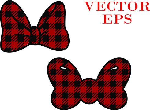 Buffalo plaid Bows. Vector