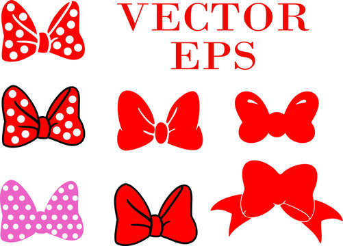 Set of bows. colored bow set. Vector illustration