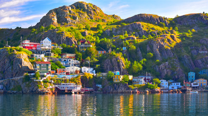 Foto op Textielframe Kust An HDR panoramic image of The Battery community in St John's harbour, Newfoundland, Canada.