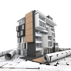 Modern appartment building and blueprints