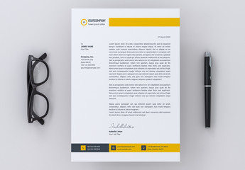 Letterhead Layout with Yellow Accents