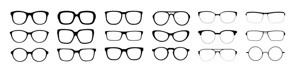 A set of glasses isolated. Vector glasses model icons. Sunglasses, glasses, isolated on white background. Silhouettes. Various shapes - stock illustration. Fototapete