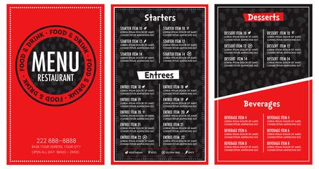 Restaurant menu red and black modern design