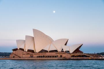 Sydney, Australia - 23 10 2018: Moon rising behind the Opera House