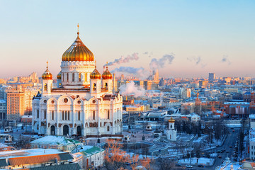 Aerial view of Moscow city with Church of Christ the Savior in Russia in the evening in winter.