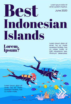 Best Indonesian islands magazine cover template. Scuba diving. Indonesia tourism. Journal mockup design. Vector page layout with flat character. Advertising cartoon illustration with text space