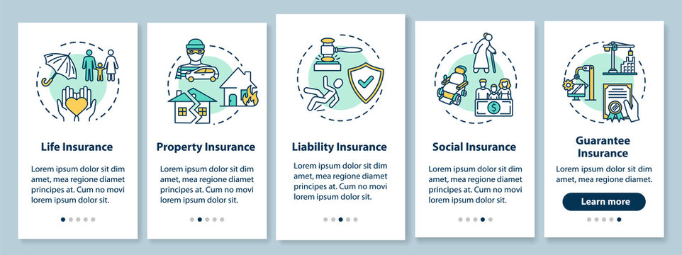 Insurance onboarding mobile app page screen with concepts. Social service. Business coverage walkthrough 5 steps graphic instructions. UI vector template with RGB color illustrations