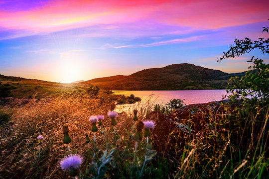 Violet hour at sunset in the valley of Wichita Mountains Wildlife Refuge near Lawton, Oklahoma, USA.