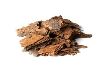 Heap of Pine Tree Bark Chip Isolated